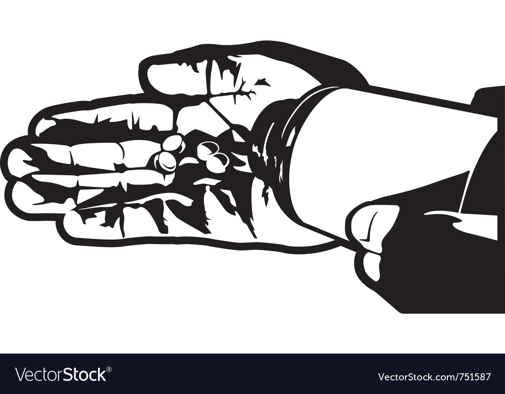 Hand with pills vector | Price: 1 Credit (USD $1)