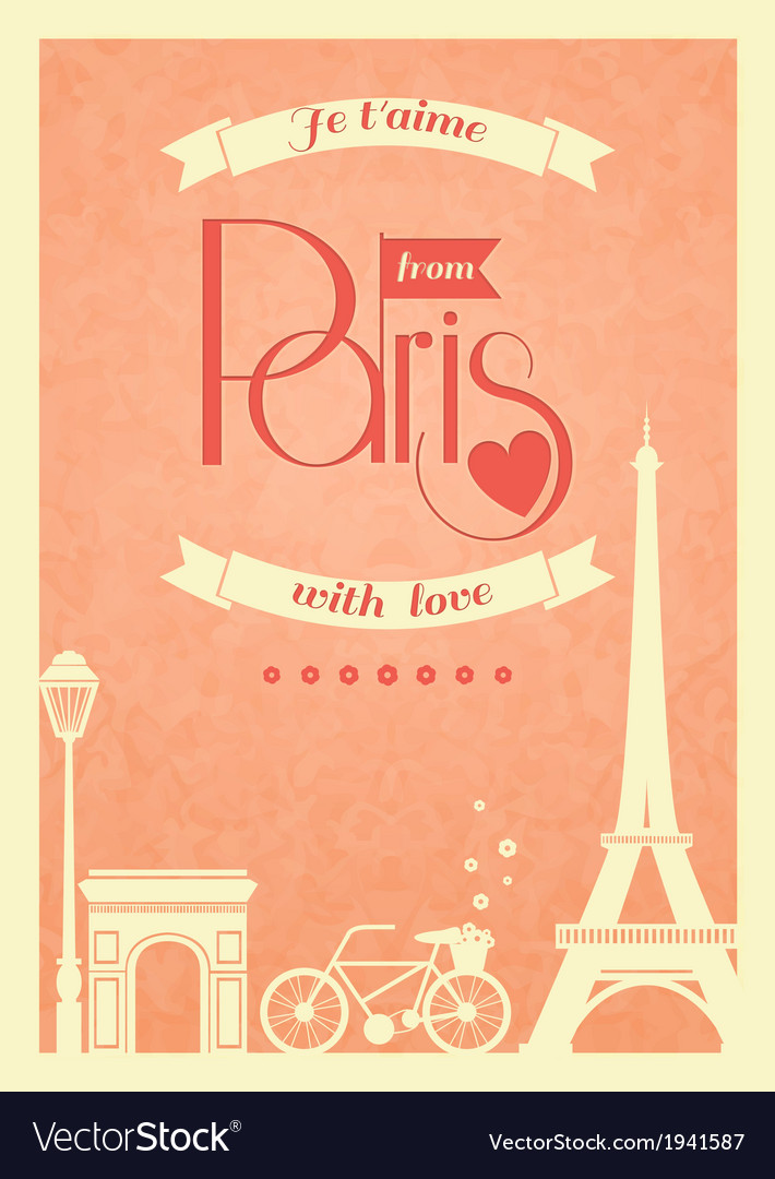 Love paris vintage retro poster vector | Price: 1 Credit (USD $1)