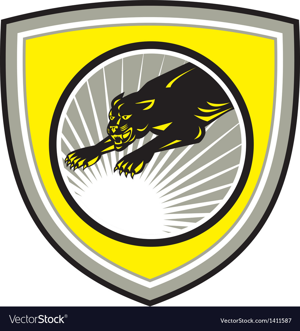 Panther big cat growling crest vector | Price: 1 Credit (USD $1)