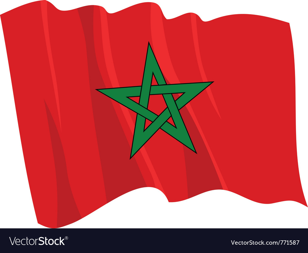 Political waving flag of morocco vector | Price: 1 Credit (USD $1)