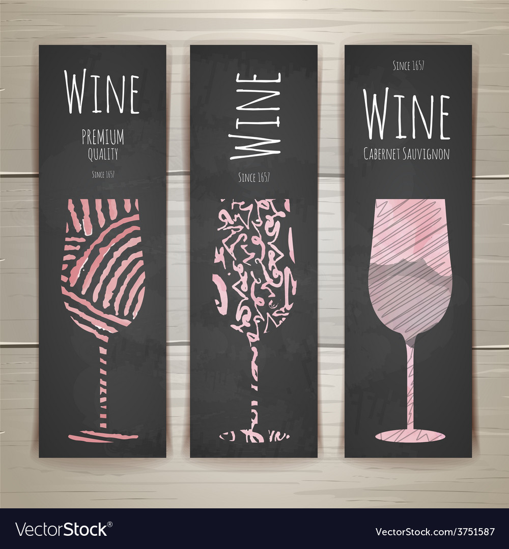 Set of art wine glass banners and labels design vector | Price: 1 Credit (USD $1)