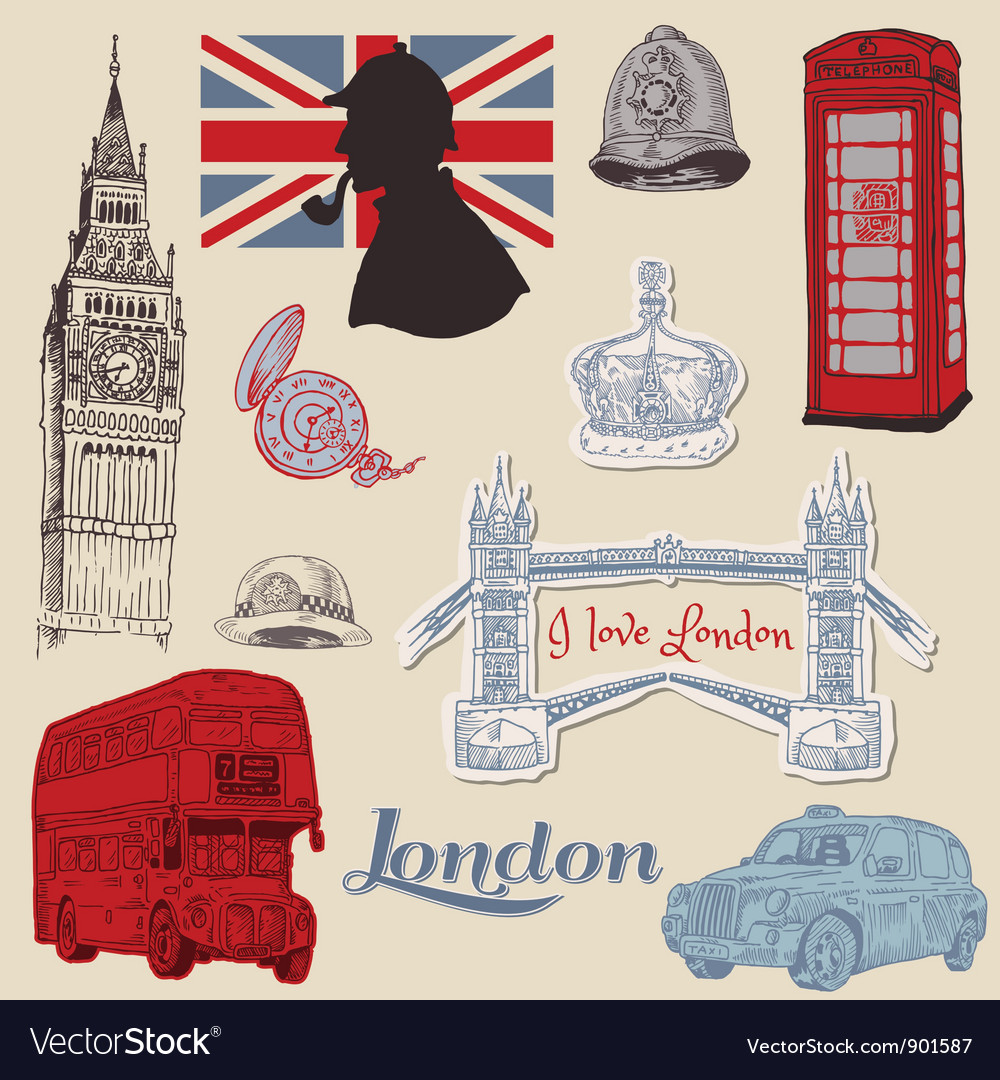 Set of london doodles vector | Price: 3 Credit (USD $3)