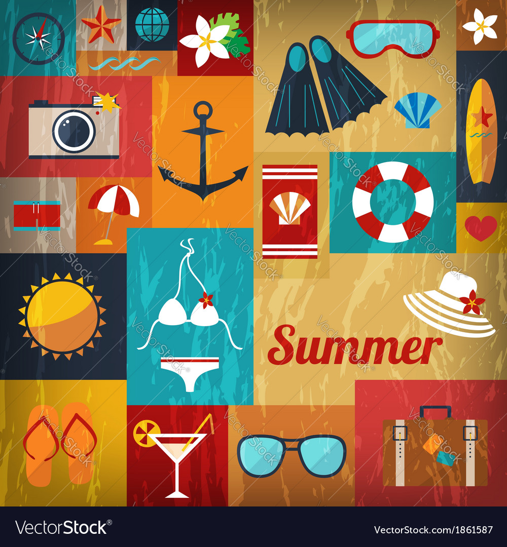 Summer retro flat background vector | Price: 1 Credit (USD $1)