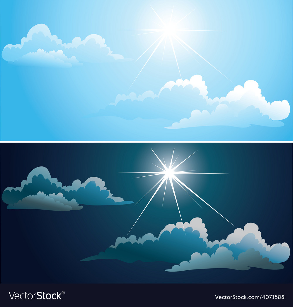 Blue and nightly sky with white clouds vector | Price: 1 Credit (USD $1)