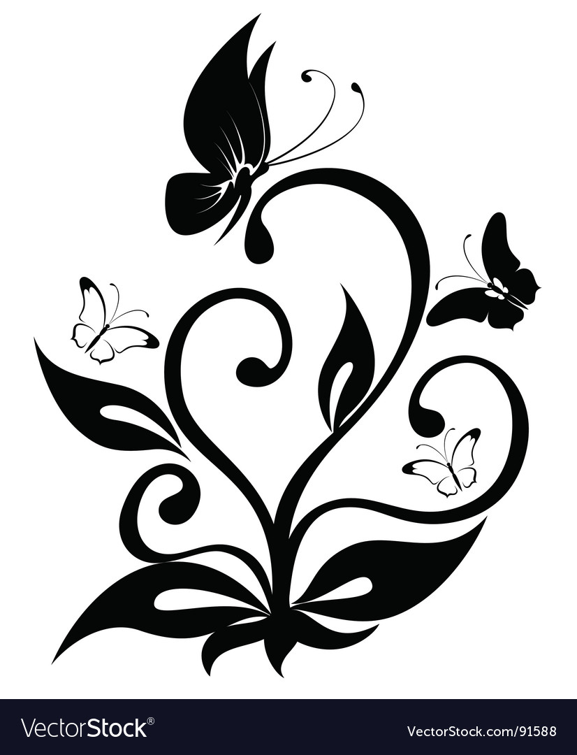 Butterfly plant vector | Price: 1 Credit (USD $1)