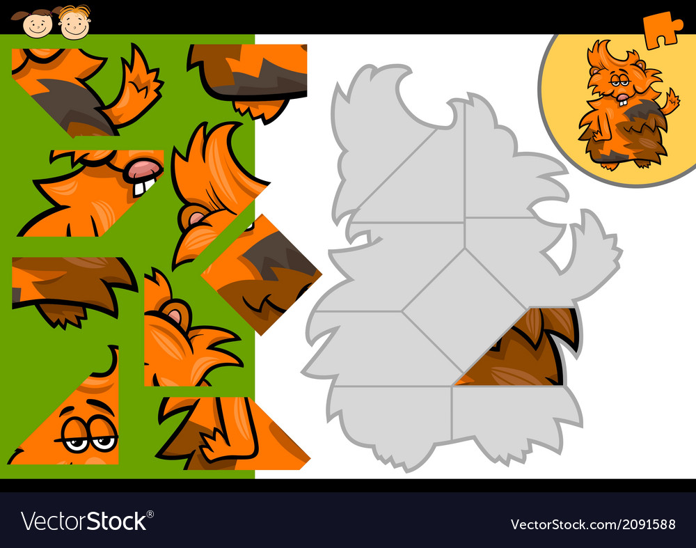 Cartoon guinea pig jigsaw puzzle game vector | Price: 1 Credit (USD $1)