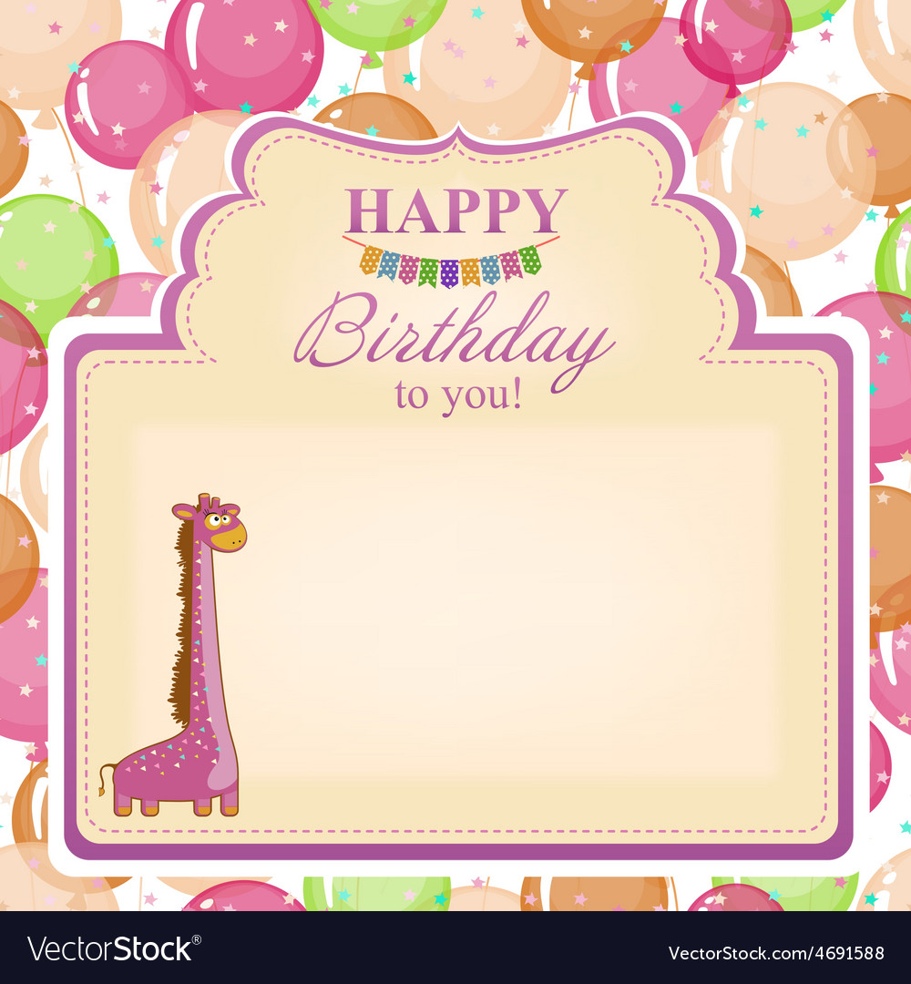 Childrens congratulatory background with a pink vector | Price: 1 Credit (USD $1)