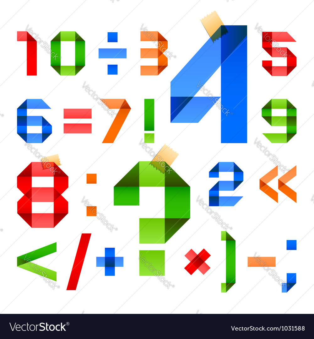 Font folded from colored paper - arabic numerals vector   Price: 1 Credit (USD $1)