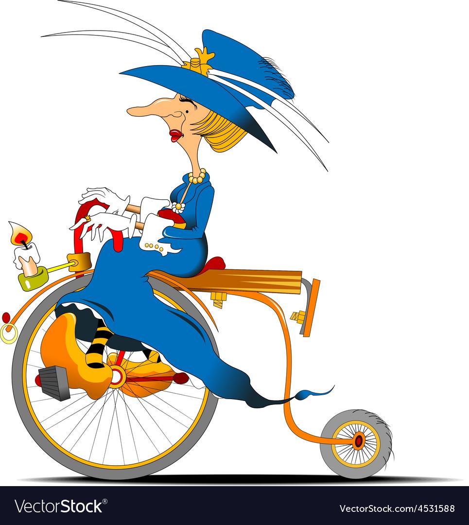 Queen cyclist cartoon vector | Price: 3 Credit (USD $3)