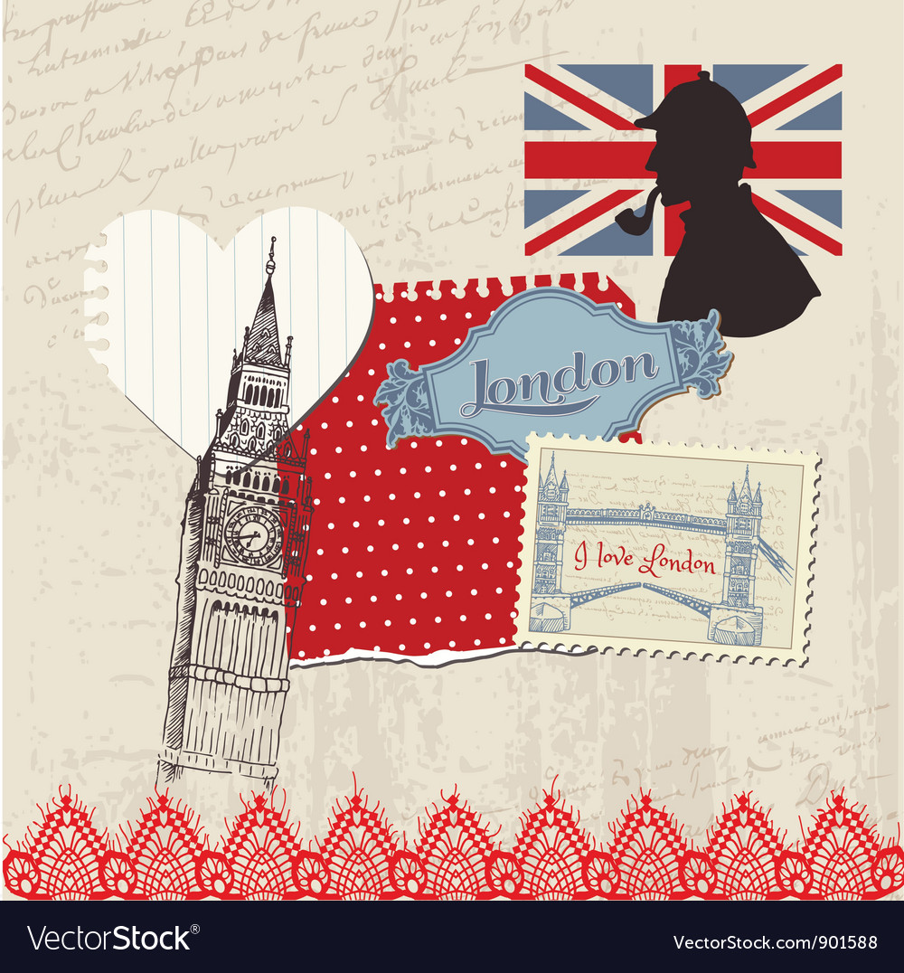 Scrapbook design elements - london vintage set vector | Price: 1 Credit (USD $1)