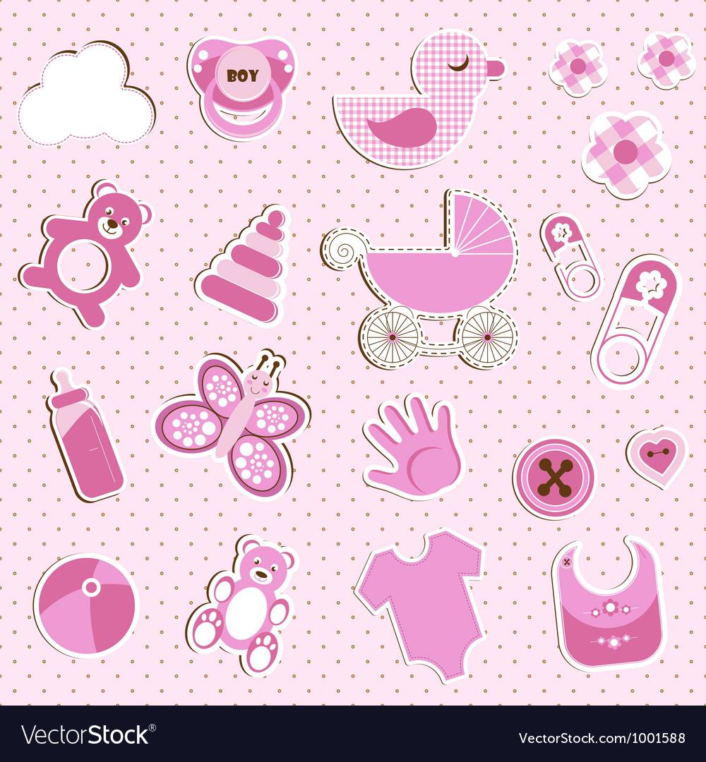 Scrapbook set of baby girl things vector   Price: 1 Credit (USD $1)