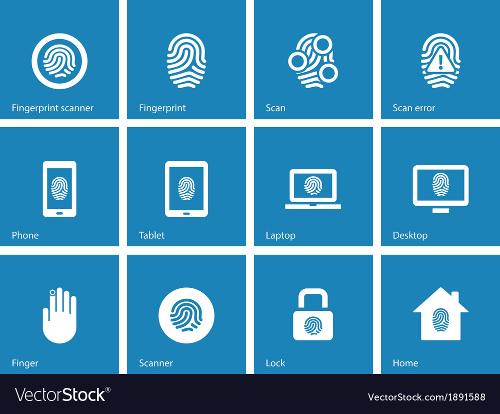 Touch id fingerprint icons on blue background vector | Price: 1 Credit (USD $1)