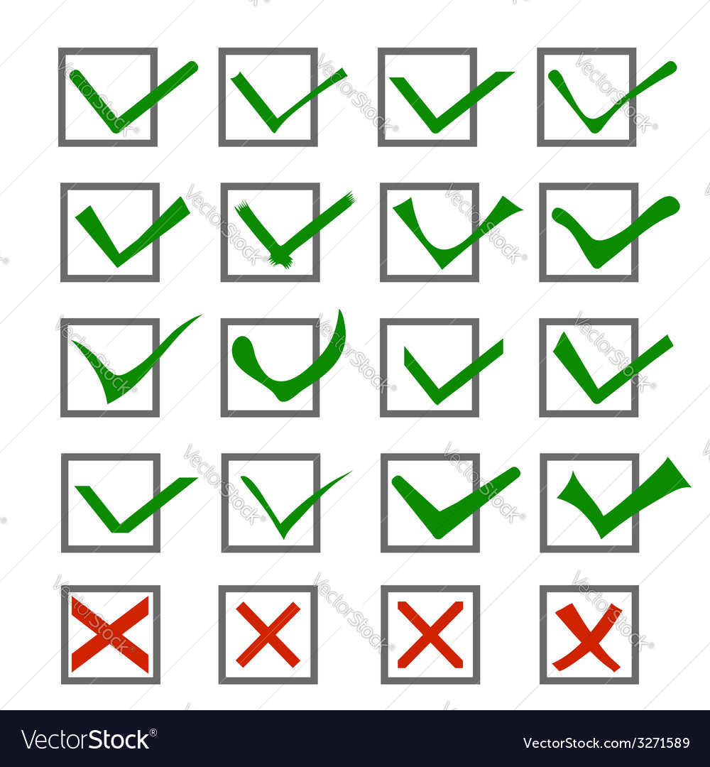 Check marks or ticks in boxes vector | Price: 1 Credit (USD $1)