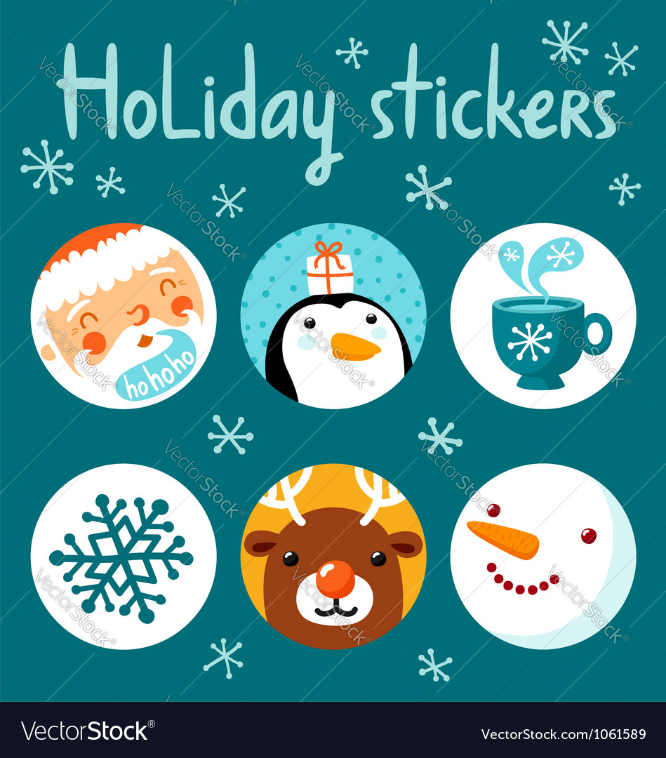 Holiday stickers vector | Price: 3 Credit (USD $3)
