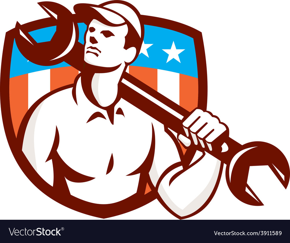 Mechanic spanner wrench usa flag retro vector | Price: 1 Credit (USD $1)