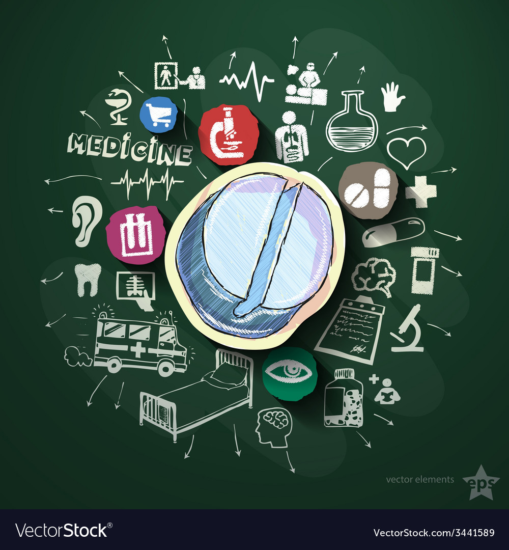 Medical collage with icons on blackboard vector | Price: 3 Credit (USD $3)