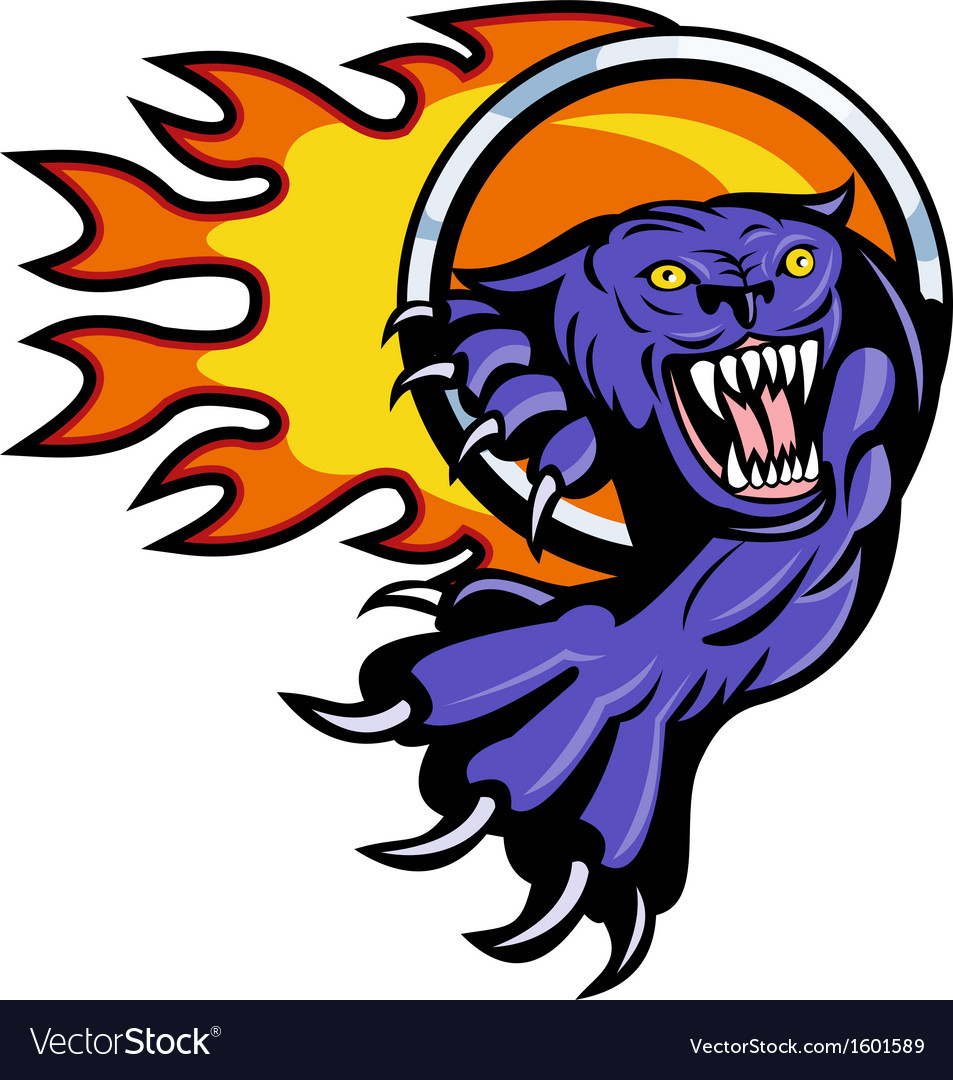 Panther attacking with ring of fire vector | Price: 1 Credit (USD $1)