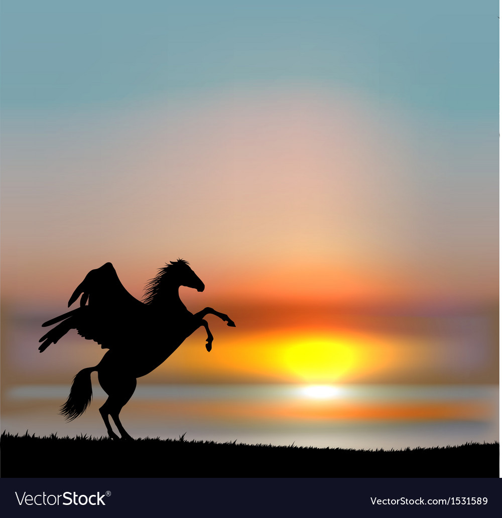 Pegasus on sunset sky vector | Price: 1 Credit (USD $1)