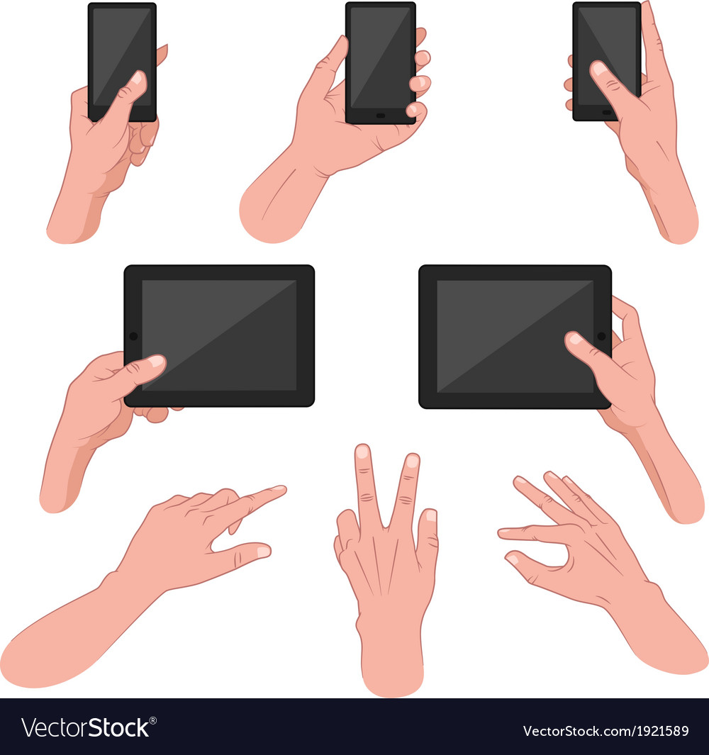 Set of hands using mobile devices vector | Price: 1 Credit (USD $1)