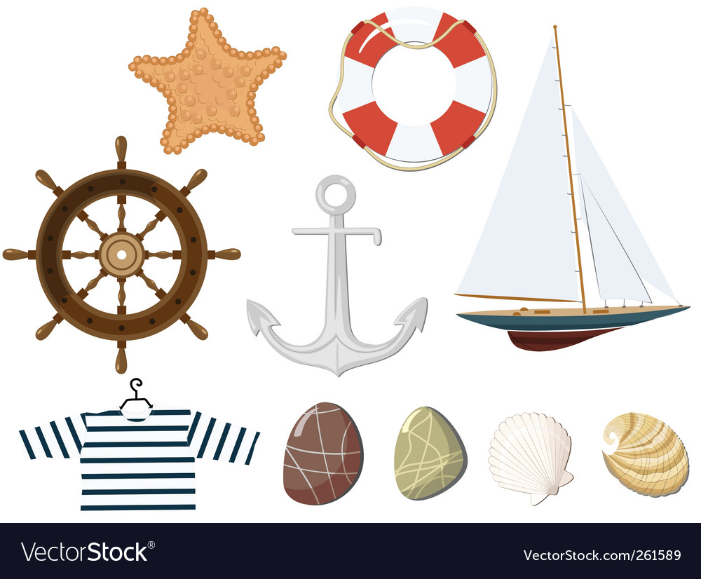 Set of the marine objects vector | Price: 3 Credit (USD $3)