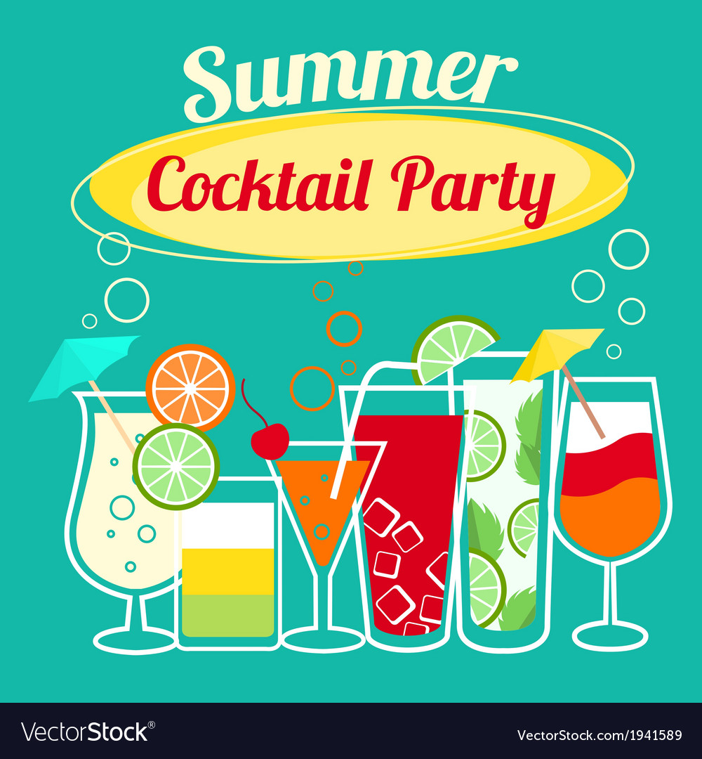 Summer cocktails party template vector | Price: 1 Credit (USD $1)
