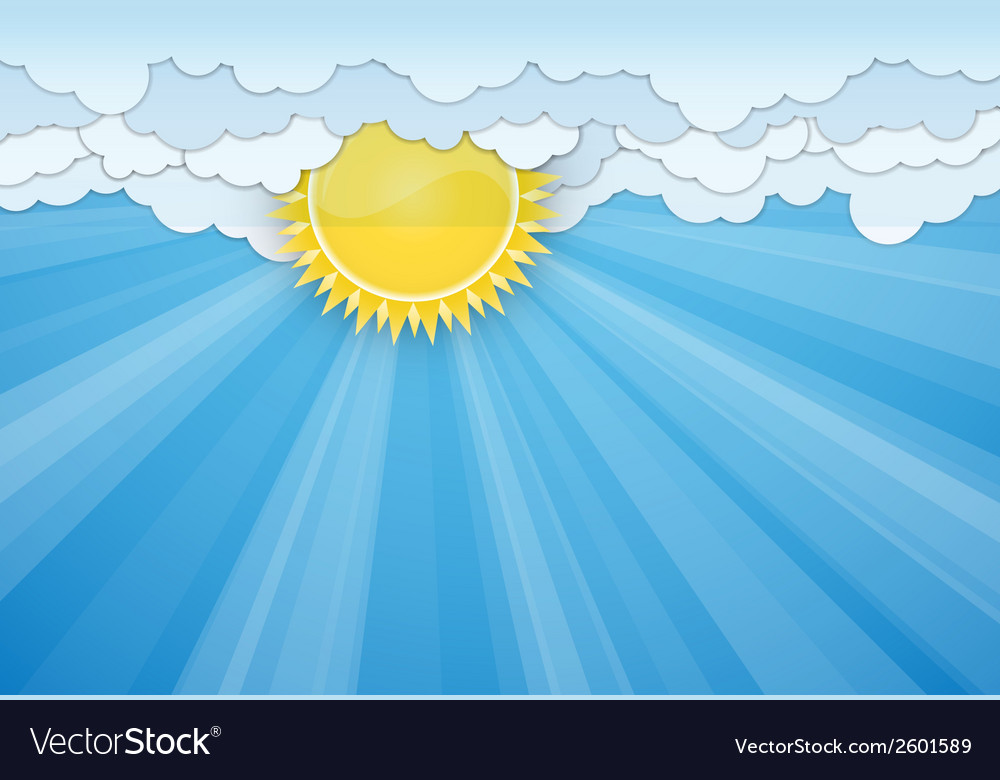 White clouds and sun over blue sky vector   Price: 1 Credit (USD $1)