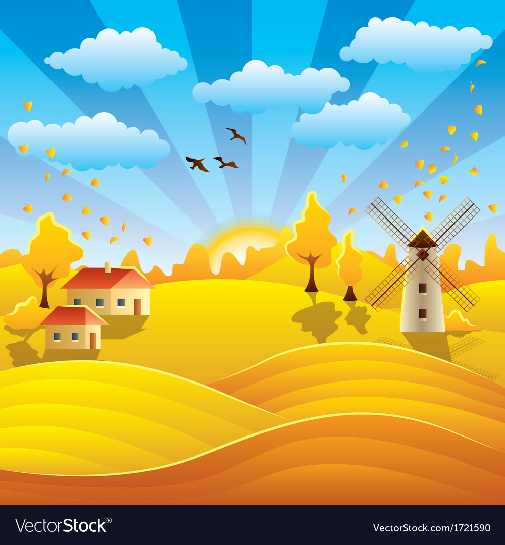 Autumn rural scenery vector | Price: 1 Credit (USD $1)