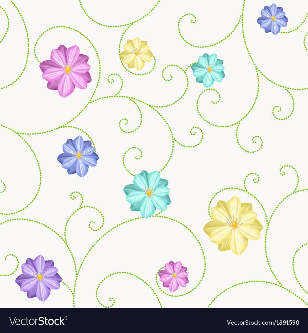 Background with flowers and curls vector | Price: 1 Credit (USD $1)