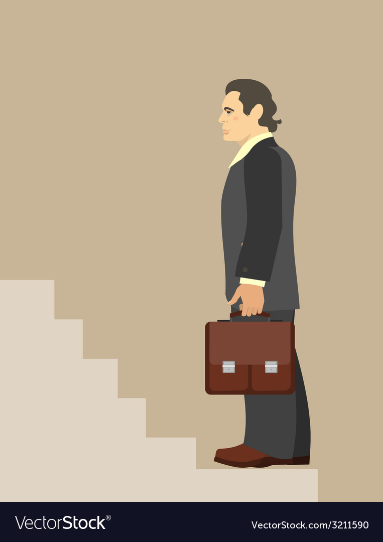Businessman standing at the beginning of the vector | Price: 1 Credit (USD $1)