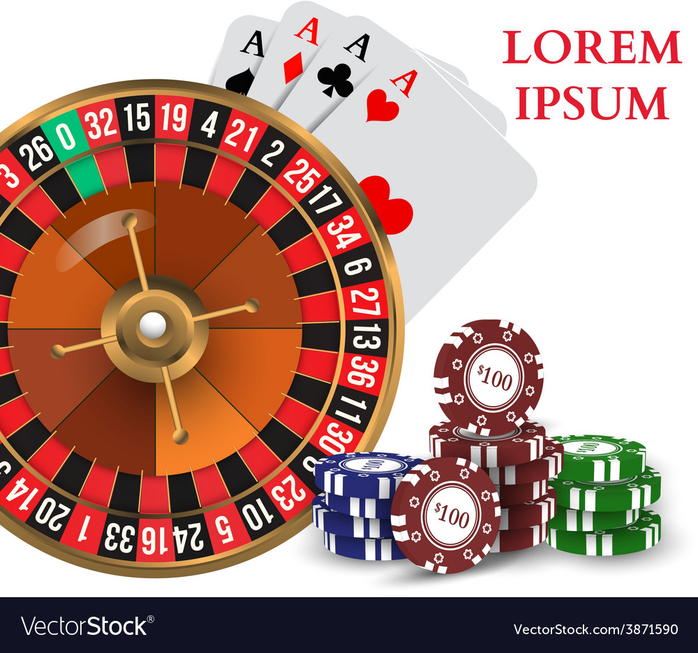 Casino roulette playing cards witn chips vector | Price: 1 Credit (USD $1)