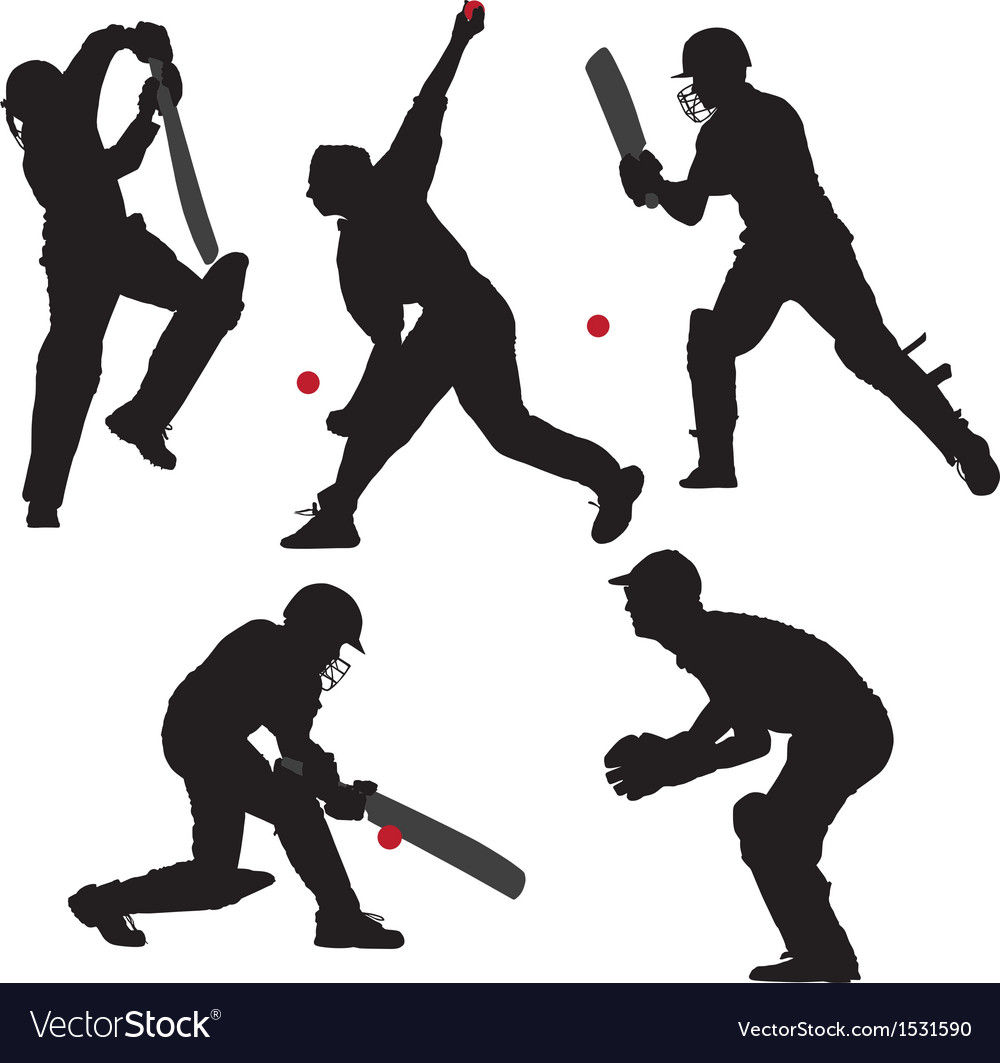 Cricket sport silhouette vector | Price: 1 Credit (USD $1)