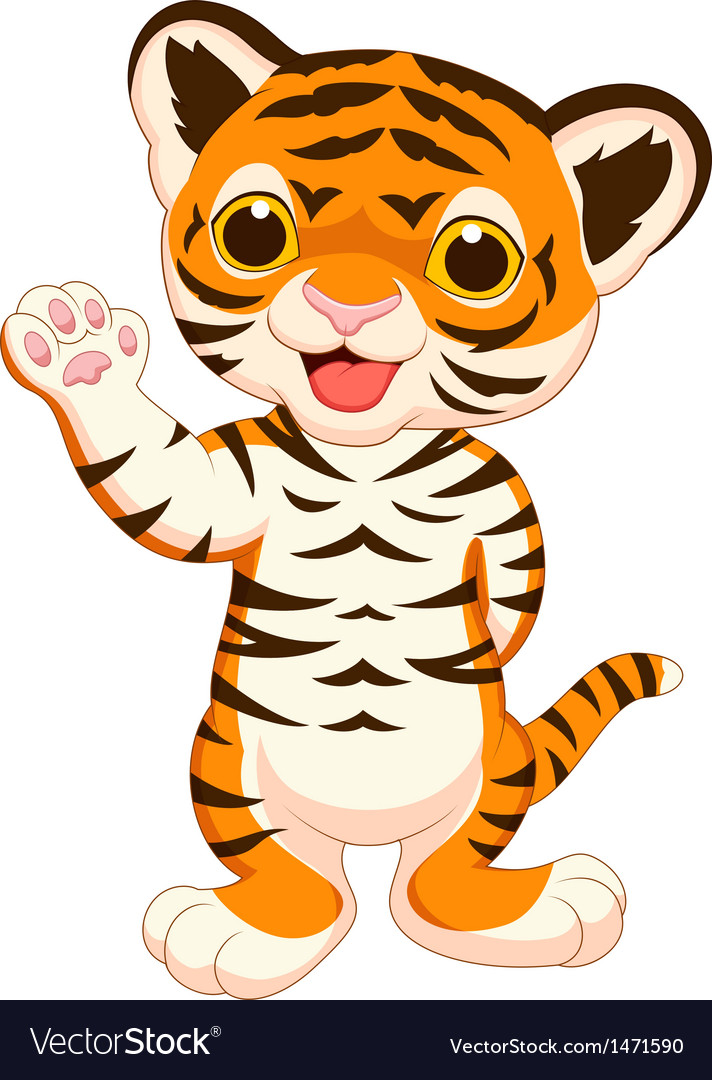 Cute baby tiger cartoon waving vector | Price: 1 Credit (USD $1)