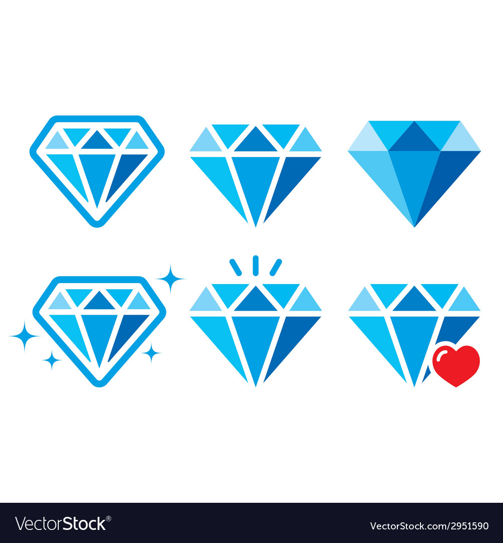 Diamond luxury blue icons set - wealth con vector | Price: 1 Credit (USD $1)