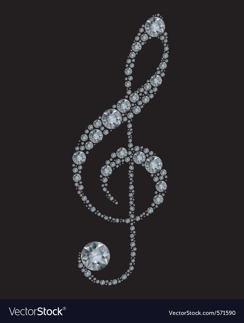 Diamond treble clef vector | Price: 1 Credit (USD $1)