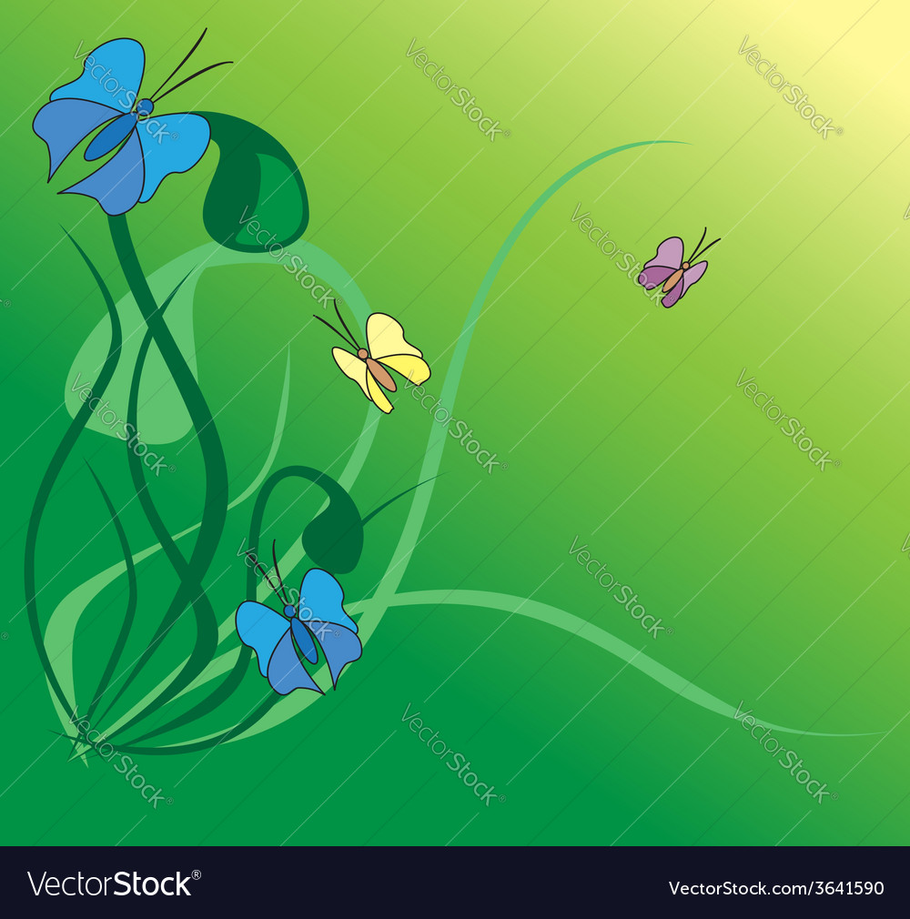 Flora with butterflies vector | Price: 1 Credit (USD $1)