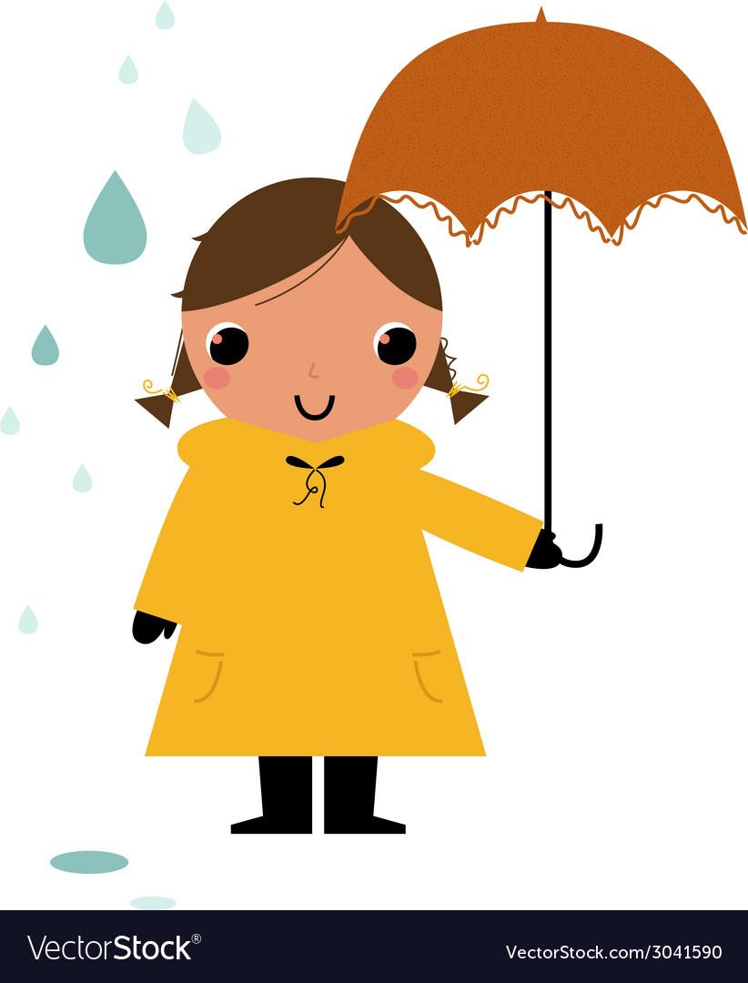 Girl in raincoat under rain vector | Price: 1 Credit (USD $1)