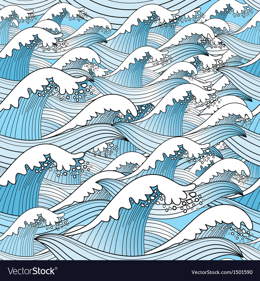 Graphic pattern of sea blue waves vector | Price: 1 Credit (USD $1)
