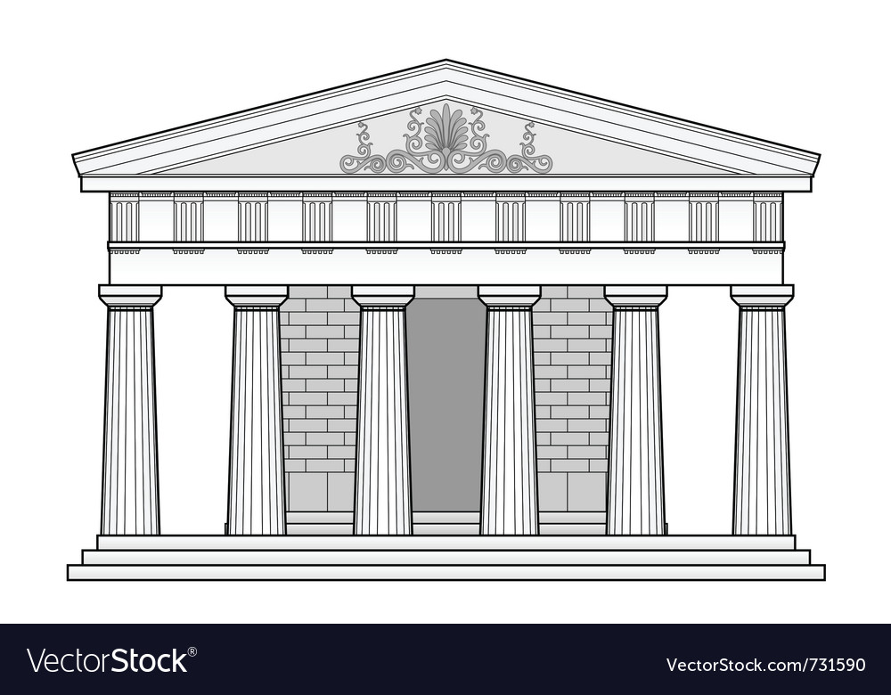 Greek doric temple vector | Price: 1 Credit (USD $1)