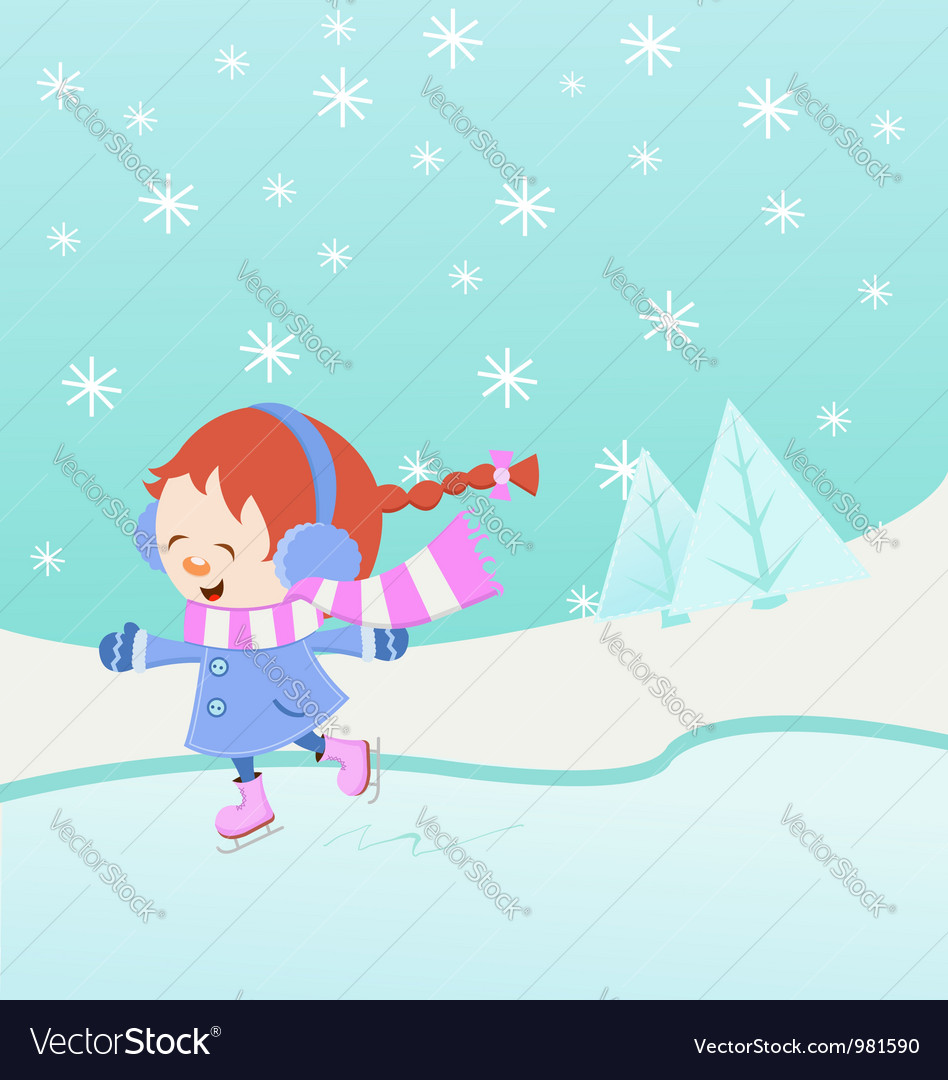 Ice skating girl vector | Price: 1 Credit (USD $1)