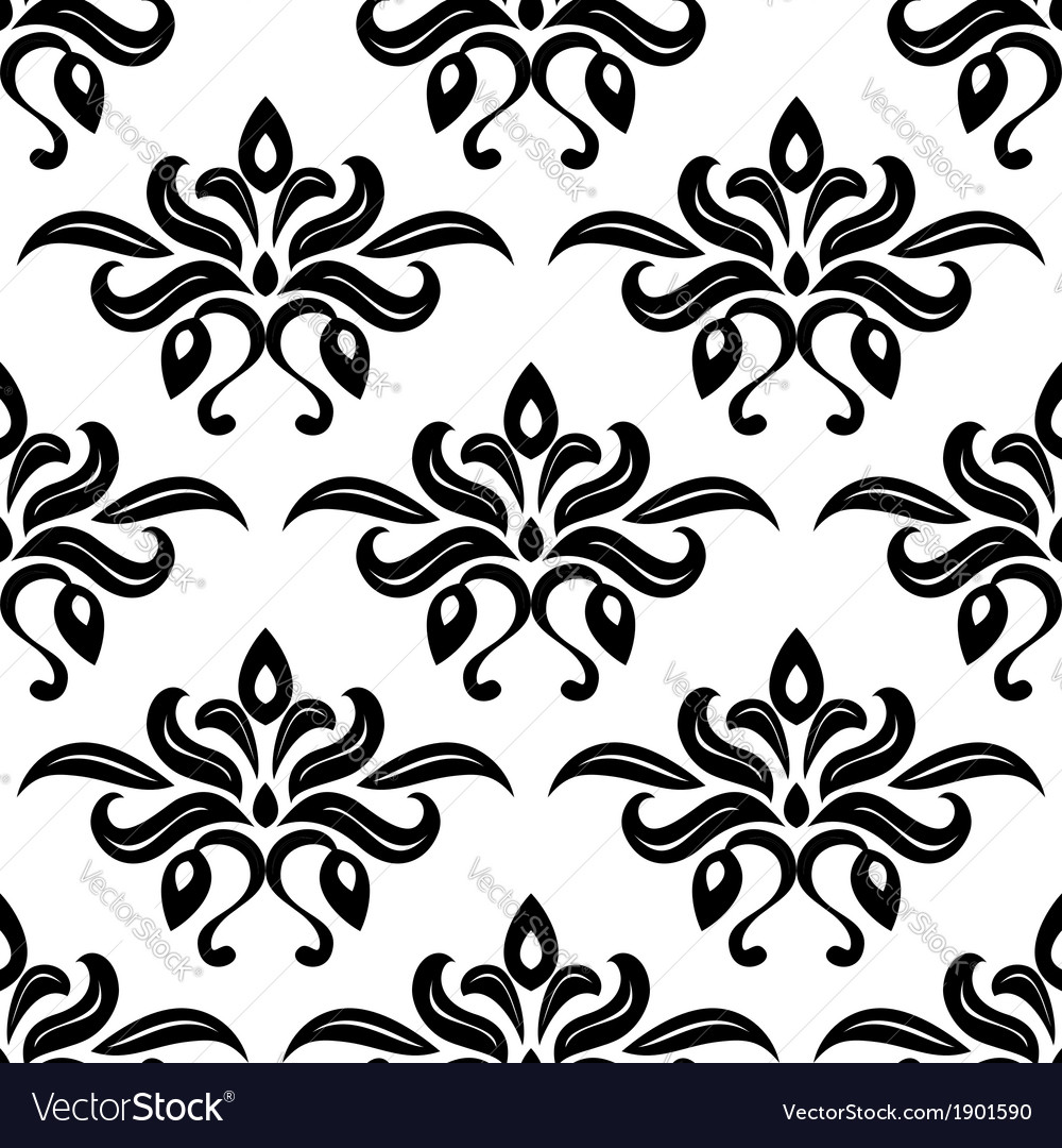 Modern foliate black and white arabesque pattern vector | Price: 1 Credit (USD $1)