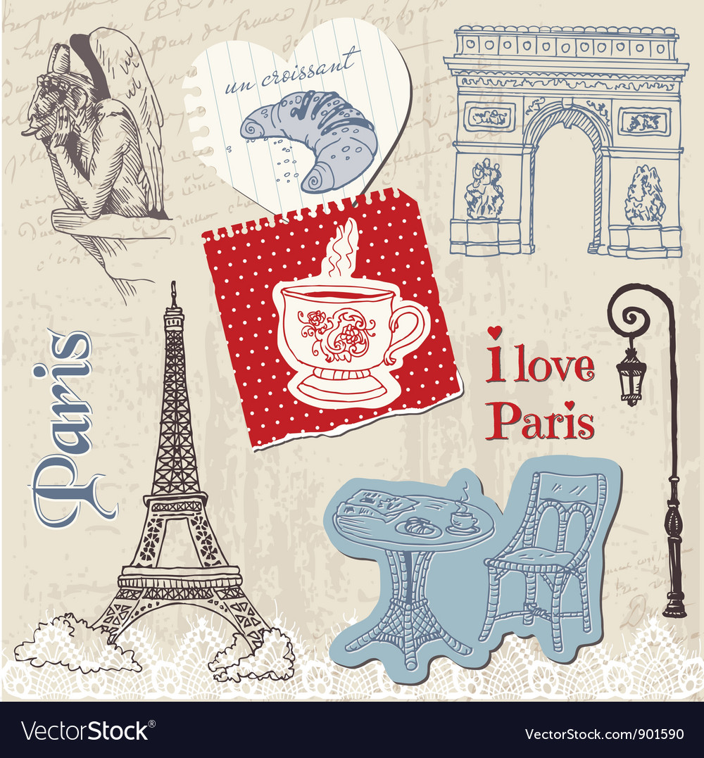 Scrapbook design elements  paris vintage set vector