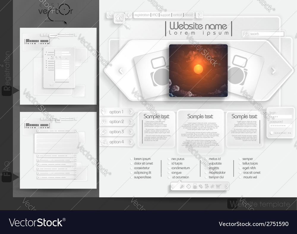 Website design template menu elements vector | Price: 1 Credit (USD $1)