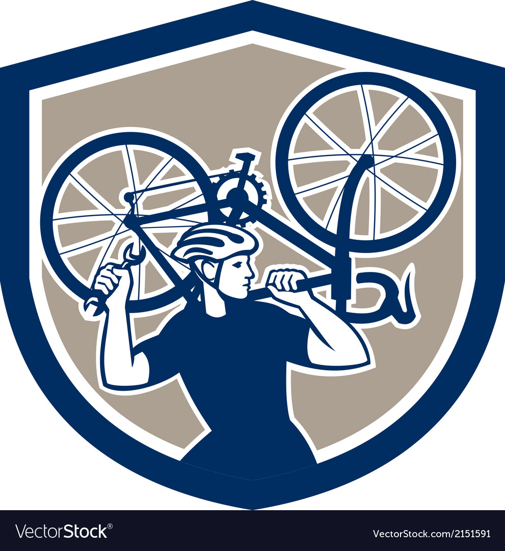 Bicycle mechanic carry bike shield retro vector | Price: 1 Credit (USD $1)