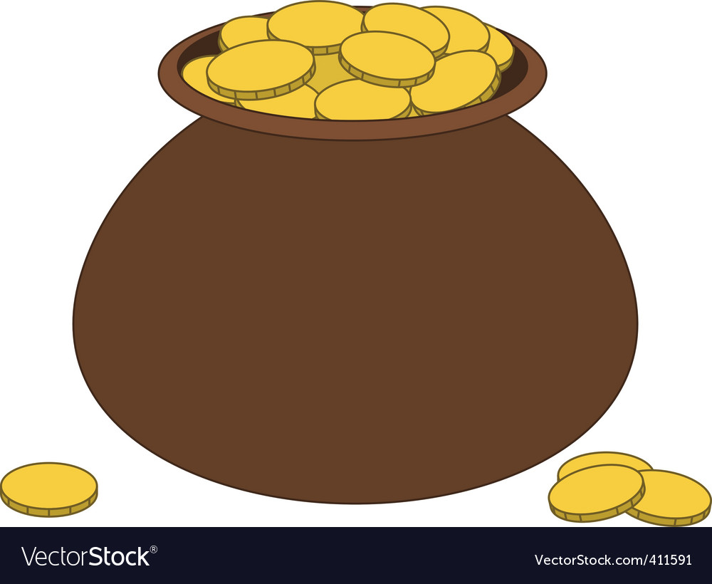 Brown clay pot with gold vector | Price: 1 Credit (USD $1)