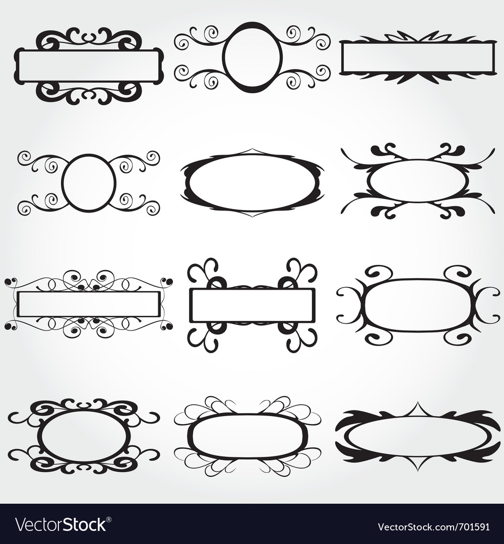 Frame set ornamental vintage decoration vector | Price: 1 Credit (USD $1)