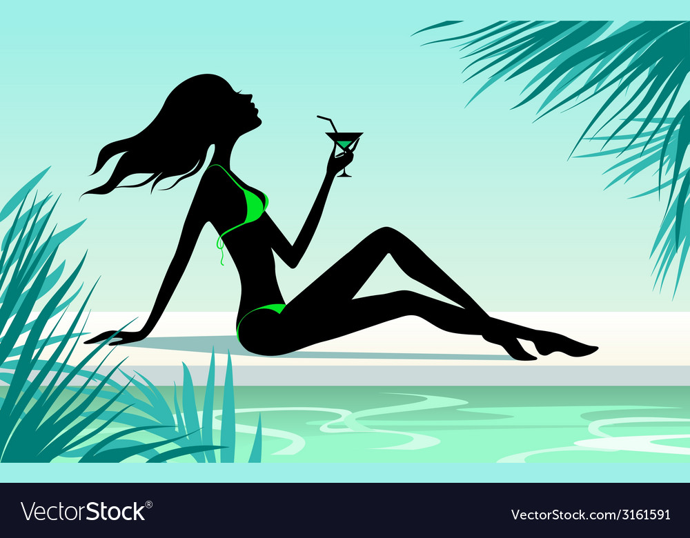 Girl with cocktail vector | Price: 1 Credit (USD $1)