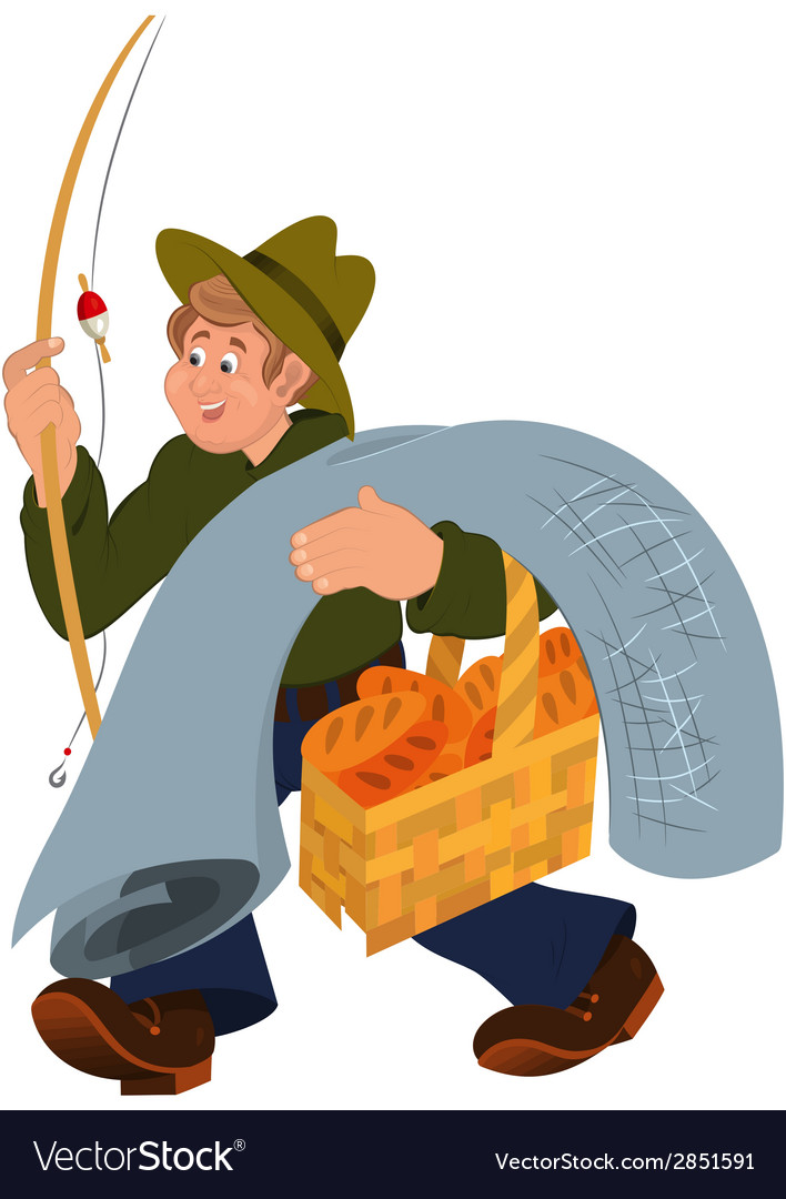 Happy cartoon man walking with fishing rod vector | Price: 1 Credit (USD $1)