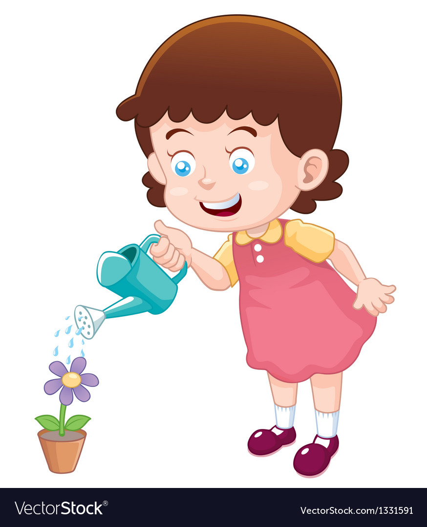 Little girl watering flower vector | Price: 3 Credit (USD $3)