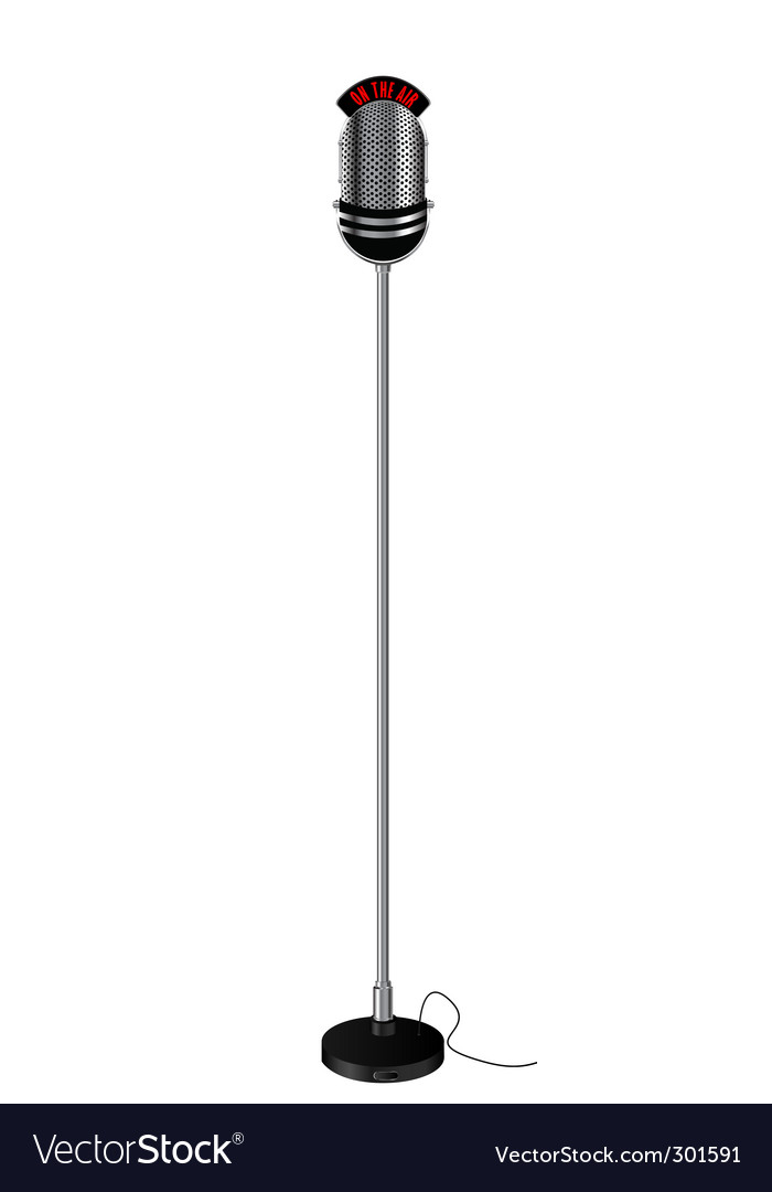 Retro style radio microphone vector | Price: 1 Credit (USD $1)