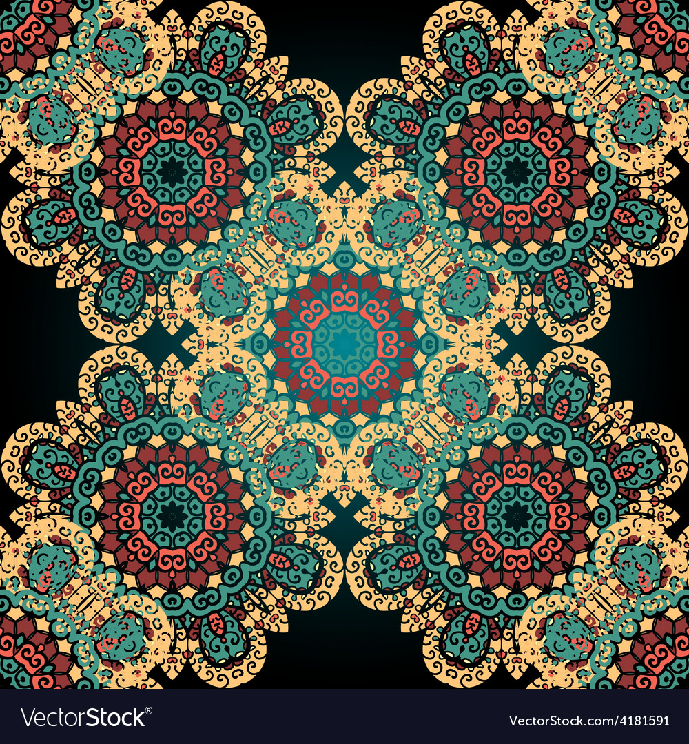 Seamless paisley mandala abstract pattern tiled vector | Price: 1 Credit (USD $1)